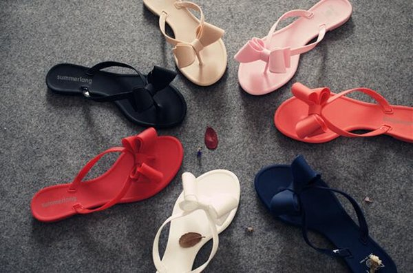 2016 summer clip bow slippers sandals Europe and the United States beach shoes