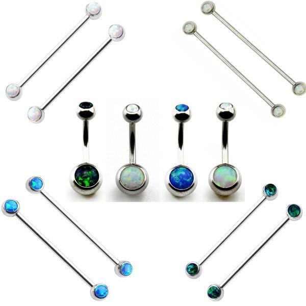 Showlove 1pc Opal Crustal Navel Belly Button Ring Ear Industrial Barbell Earrings Cartilage Piercing Gauge Body Jewelry
