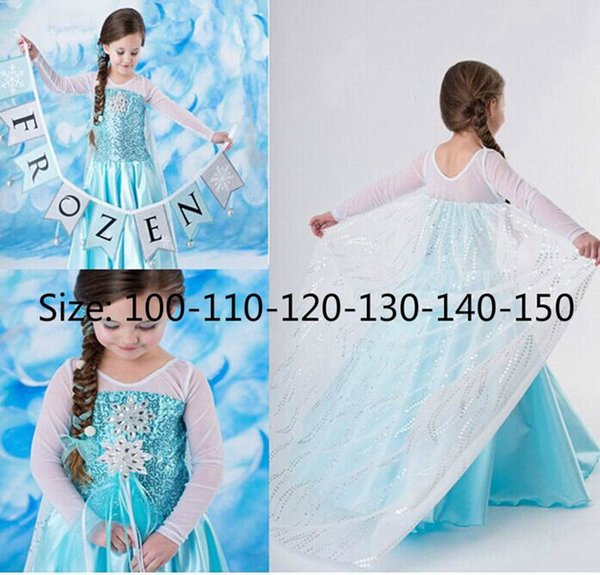 Frozen Dress Girls Halloween Costumes for Kids Snow Queen Cosplay Princess Party Fantasia Vestido Infantils Halloween Long Sleeve Dresses