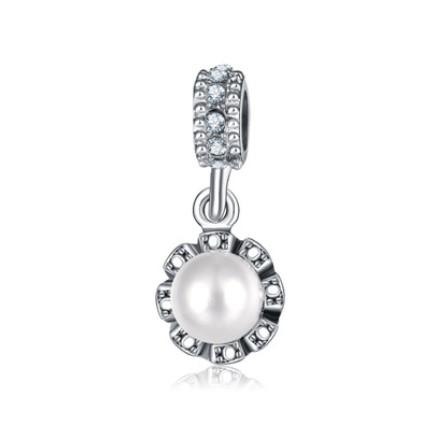 Fits Pandora Bracelets 10pcs White Pearl Silver Crystal Charms Pendant Beads Silver Charms Bead For Wholesale Diy European Necklace Jewelry