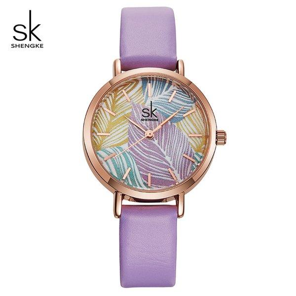 Shengke Yaratıcı Bayanlar Dial Dial Saatler Kadınlar Moda Deri Kuvars İzle Reloj Mujer 2018 Yeni SK Kadınlar Bilek İzle # K8057