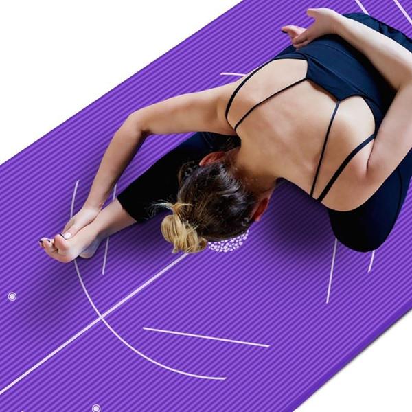 Posição linha tapetes de yoga insípido antiderrapantes iniciantes exercício esteira de ginástica 185 x 90 cm x 10 mm mat + atadura