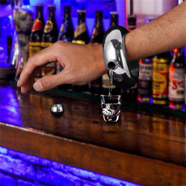 2017 3,5 unze / 100 ML Edelstahl Krug Armband Einzigartige Alkohol Flachmann Trichter Armreif Delicate Whisky Armband Luxus Drink