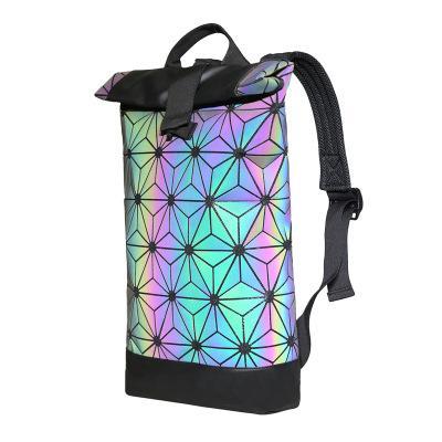 2018 New Style Geometric Laser Luminous Lingge Women Men Backpack For Travel Sport School Bag Girls Boys Large Christ Red