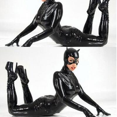 2016 Plus Größe M XL XXL Sexy Catwoman Bondage Catsuit Latex Bodysuit Schwarz Kunstleder Stretch PVC Dessous Kostüm