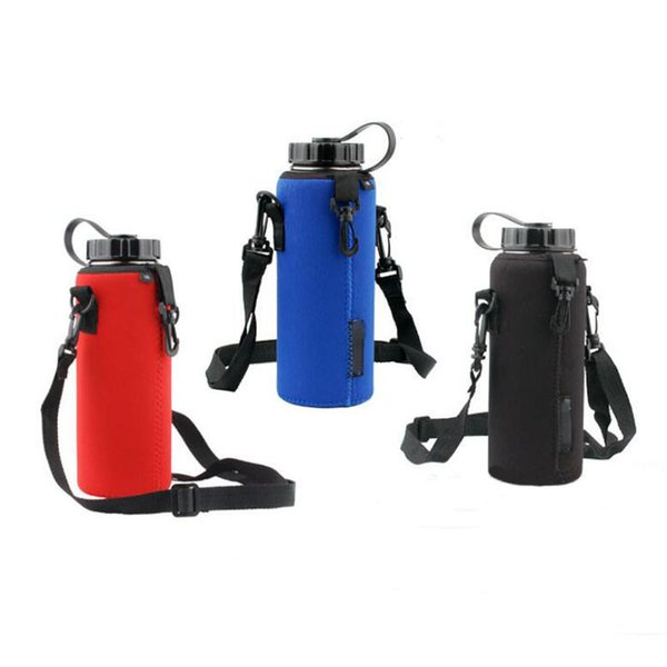 Water Bottle Cover Bag Pouch Strap Neoprene Water Bottle Carrier Insulated Bag Pouch Holder Shoulder Strap Bicycle Accessories