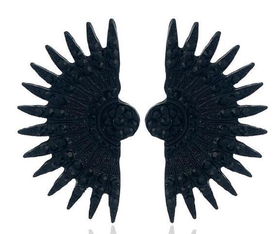 new Hot Style European and American big brand nightclub trend ear nail willow leaf fan-shaped earrings, earrings, fashionable personality po