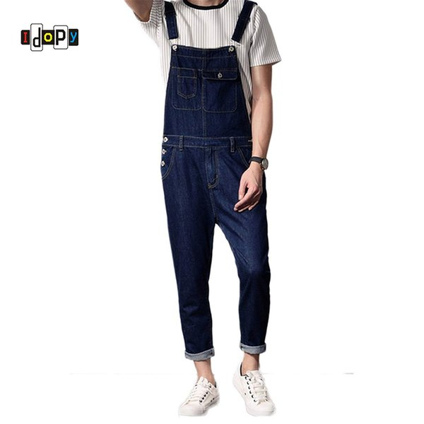 Idopy Casual Men`s Bib Overalls Multi-Pockets Blue Slim Fit Cowboy Denim Jumpsuits Suspenders For Men