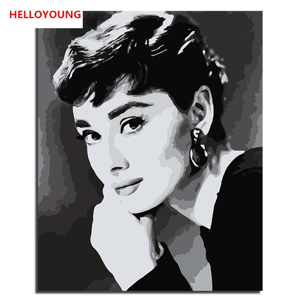 HELLOYOUNG DIY Handpainted Oil Painting Hepburn three Digital Painting by numbers oil paintings chinese scroll paintings