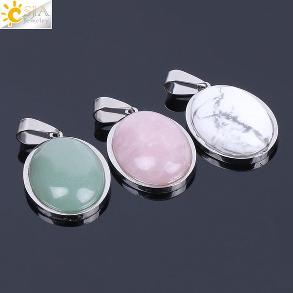 CSJA Natural Gem Stone Beads Egg Shape Pendants for Necklace Pink Quartz Green Aventurine Lapis Lazuli Tiger Eye Reiki Amulet Jewelry F133 A