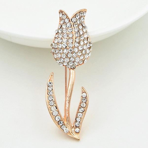 Fantastica lega oro rosa fiore spilla frizzante chiaro Diamante strass Lady spilla abbastanza delicato gioielli accessori per gli uomini