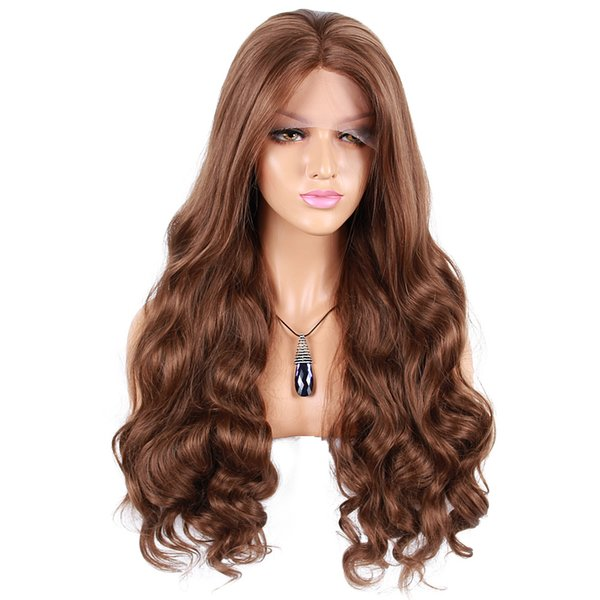 Factory direct wholesale synthetic hair lace front wig heat resistant super wavy hot sale synthetic wigs black women
