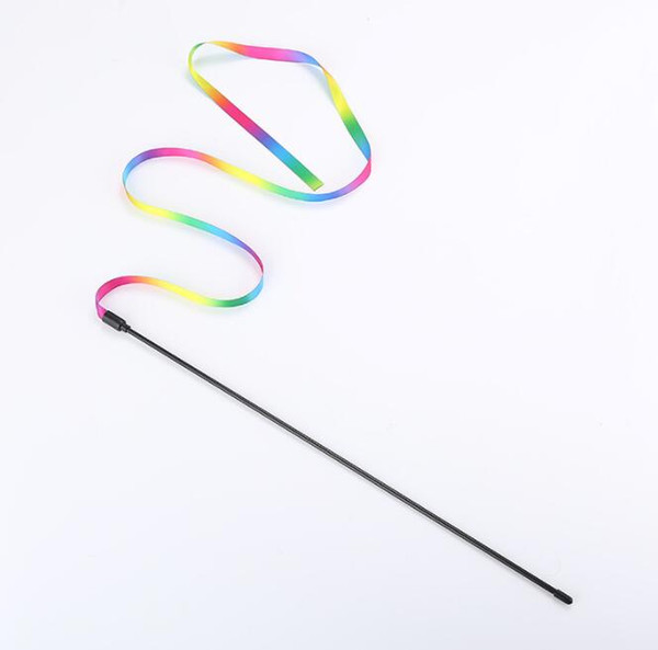 top popular Cat Toys Cute Funny Colorful Rod Teaser Wand Plastic Pet Toys for Cats Interactive Stick Cat Supplies 2021