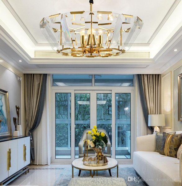 Villa bedroom crystal chandelier energy-saving LED light source stainless steel S gold K9 crystal. amber. Wall Switch