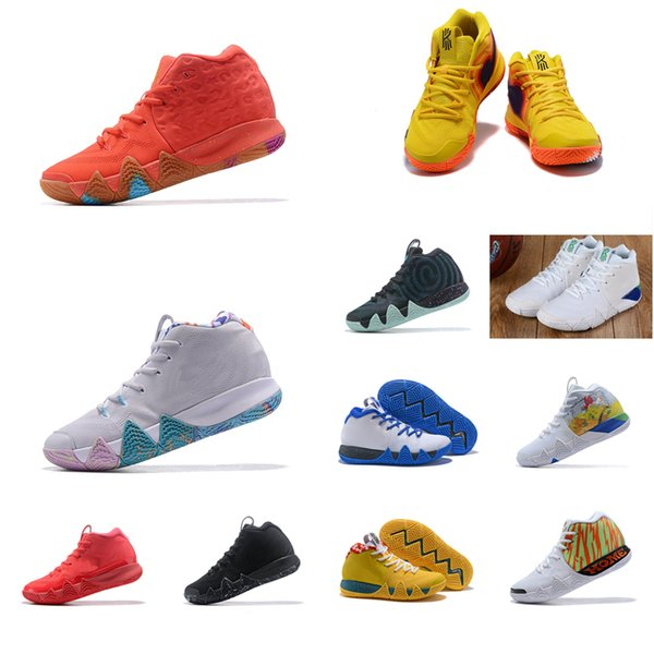 Men Kyrie Irving basketball shoes black gold team red Lucky Charms sports yellow Deep Royal New arrivals 4 IV sneakers boots tennis for sale