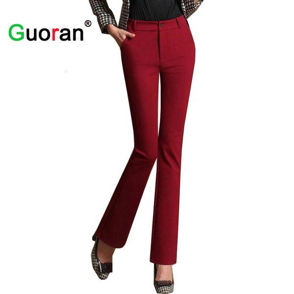 {Guoran} Wide leg women office work pants plus size high quality office ladies formal suit trousers business pants female black