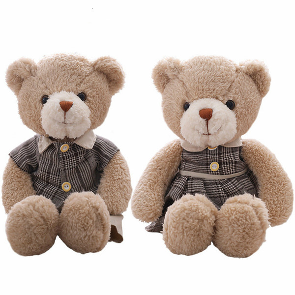 Millffy 2 pcs 35cm Couples Teddy Bear Plush Toys Soft Stuffed Animal Bear Doll for Kids Girls Valentine Gift Cute Birthday gift