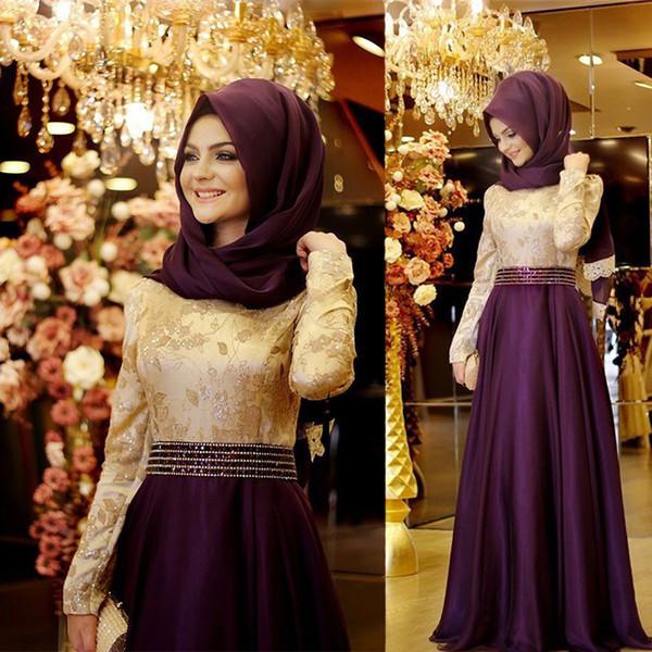 100% immagine reale viola polveroso musulmano una linea abiti da sera appliques maniche lunghe in raso abiti da ballo abiti formali sweep treno
