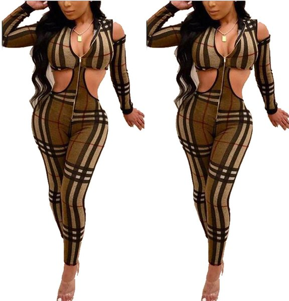 Sexy Cut Out Skinny Jumpsuit 2019 Mujeres Imprimir Hollow Out Jumpsuit V-cuello de manga completa Bodycon Party Club Romper rejilla a rayas