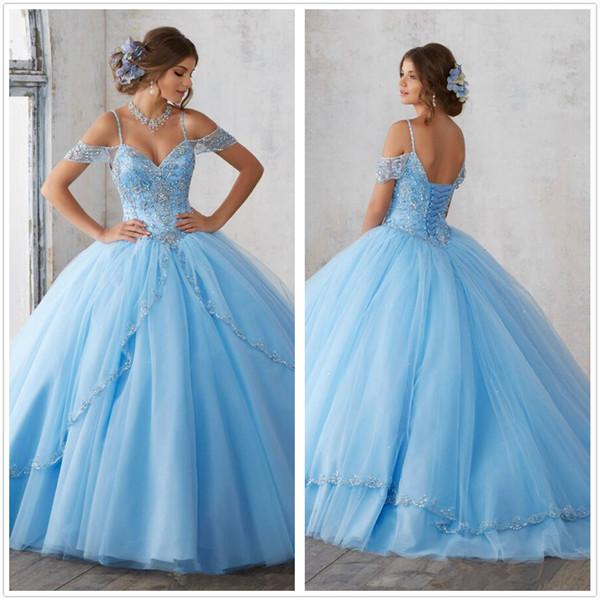 Cielo azul clara balón vestido de quinceañera vestidos de mangas cap espaguetis rebordear vestidos de princesa Party Prom de cristal para Dulce 16 niñas