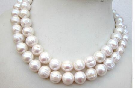 Free shipping Natural beautiful 34inch 10-11mm white freshwater breeding thread pearl necklace