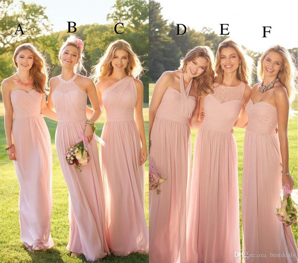 2019 Pastel Pink Cheap Long Lace Chiffon Bridesmaid Dresses Mixed Style Blush Bridesmaid Formal Prom Party Dress with Ruffles Custom Made