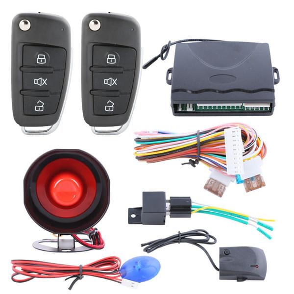 Sistema de alarma universal para el automóvil con llave giratoria, control remoto, cierre centralizado de la puerta, entrada sin llave, acceso remoto al maletero, antirrobo