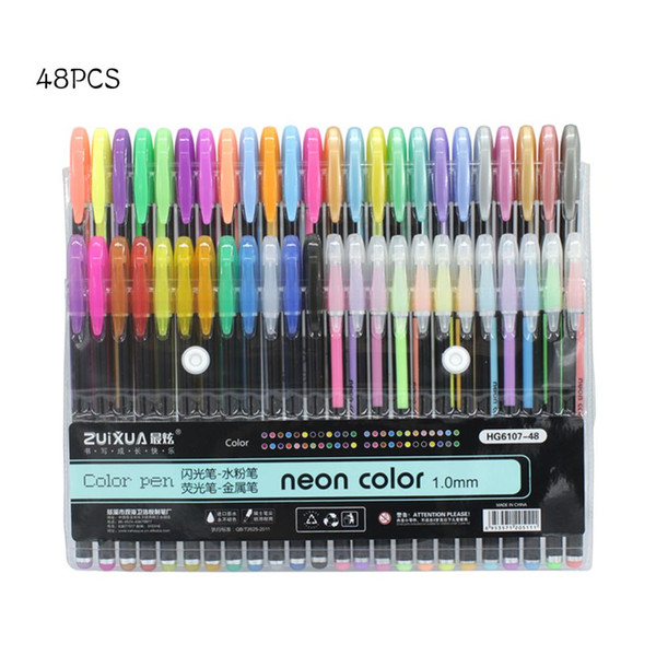 24/36/48 Colors 1.0mm Gel Pens Set Pastel Neon Glitter Drawing Color Pen 2018 Markers School Stationery
