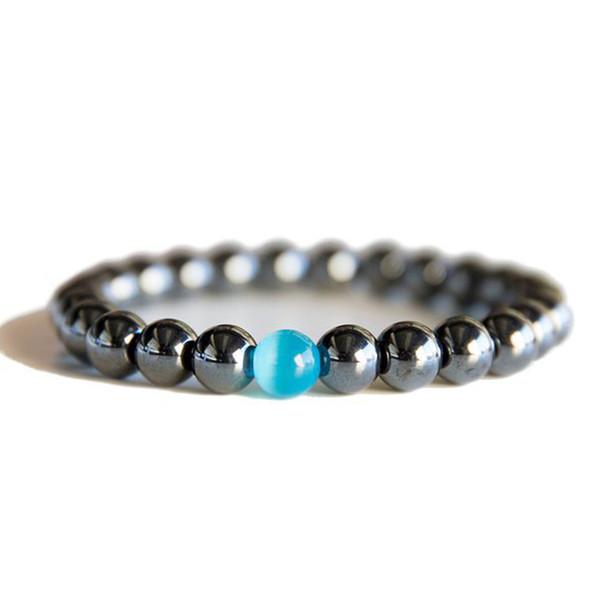 1 pz nero freddo braccialetto magnetico perline ematite pietra terapia assistenza sanitaria magnete ematite perline braccialetto gioielli da uomo