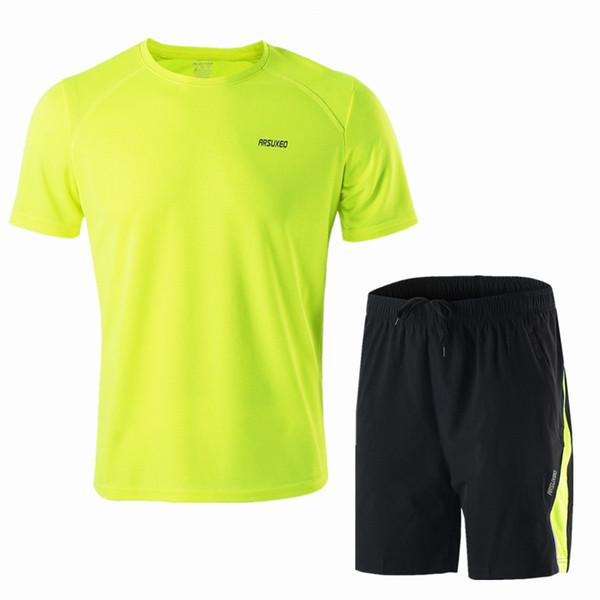 Arsuxeo Men's Summer Running Jersey Shorts Set Basketball Soccer Badminton Short Sleeve Shirt Sports Clothing Fluorescent Green
