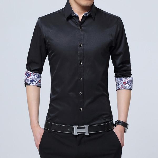 Camicia in tessuto di cotone e poliestere Camicia da uomo a maniche lunghe da uomo S-4XL Business da uomo Camicia slim fit autunno nuovo maschile