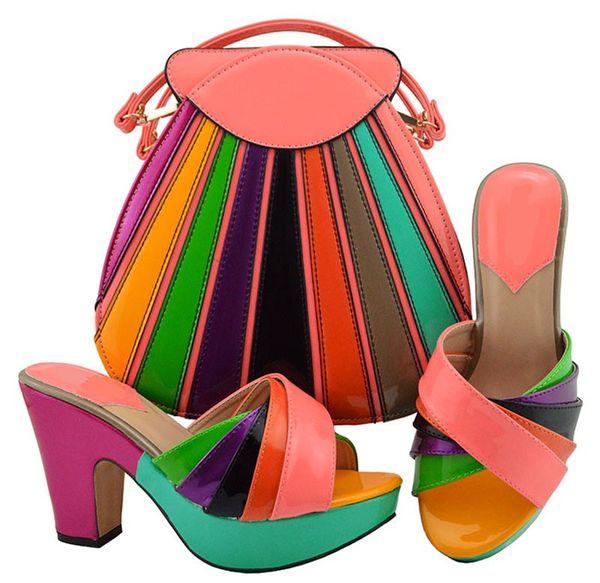 Las zapatillas de mujer más coloridas de color durazno y melocotón con un conjunto grande de bolsos africanos combinan con el bolso para el vestido MD008, tacón 10.5 CM