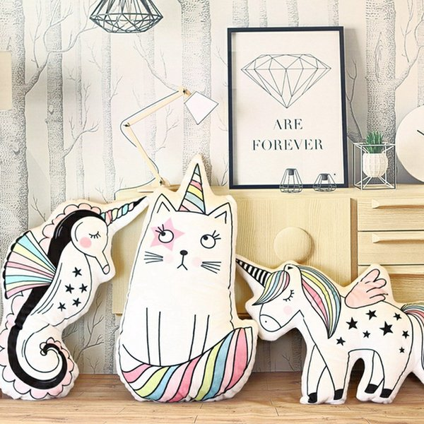 Cute Horse Plush Toys Decorations Hippocampus Unicorn Cat Toy Pillow Photo Children Room Layout Stuffed Doll Mats