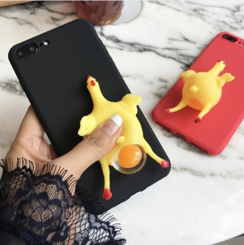2018 Divertenti cartoni animati 3D animale del telefono custodie per iphone 7 6 6 s plus custodia morbida tpu vent giocattolo squishy squeeze lay egg gallina copertura del pollo