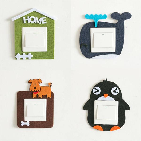Creative Removable Wall Sticker Cute Cartoon Animals Pig Dog Felt Hollow Switching Sticker Decal Home Decoration Kids Favorites