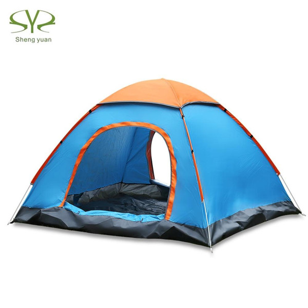 SHENGYUAN Outdoor Water Resistant Camping Tent Automatic Instant Setup 2 Doors 3-4 Person Camping Tent with Rain Cover