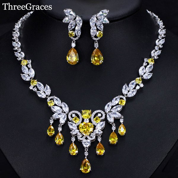ThreeGraces Hot Selling  Water Drop Shape Yellow Color Cubic Zirconia Wedding Party Necklace Jewelry Sets For Brides JS259