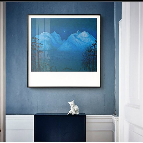 WANGART Nordic Poster Winter Night in the Mountains Landscape Oil Painting Print on Canvas Wall Picture for LIving Room Pop Art