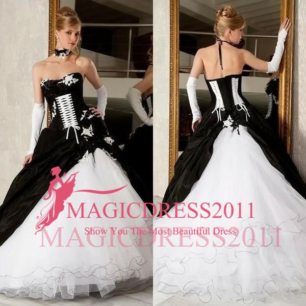 Vestidos de fiesta vestidos de novia en blanco y negro de la venta caliente sin respaldo corsé victoriano gótico tallas grandes vestidos de novia nupciales baratos