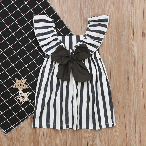 1-2T Girls white grey striped flouncing dresses baby Girl casual cute princess sleeveless big bowknot dresses ins