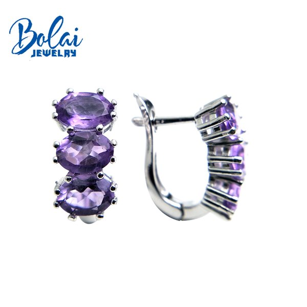 Bolaijewelry,natural brazil amethyst oval 5*7mm gemstone clasp earring 925 sterling silver fine jewelry women Christmas gift box