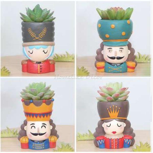 Fındıkkıran Bebek Saksı Set-4 adet Reçine Etli Bitki Pot Kral Kraliçe Tasarım Saksı Peri Bahçe Bonsai Ekici