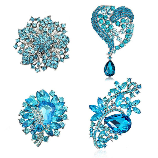 4Pcs Mixed Style Lot Light Blue Crystal Sky Blue Rhinestone Brooch Lot with Large Big Size Glass Fashion Jewelry