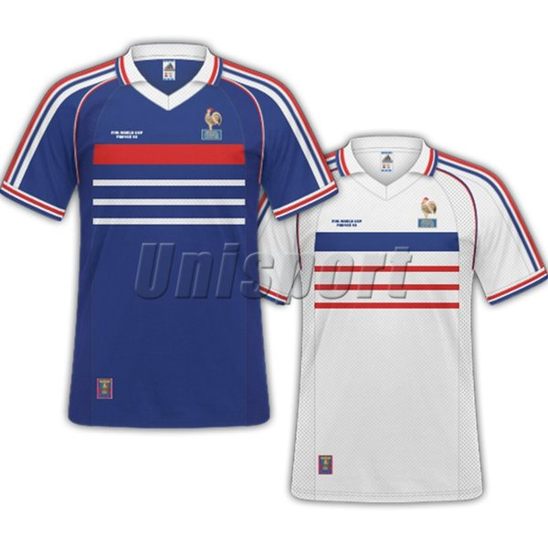 S-XXL World Cup 1998 Retro Francia Soccer Jerseys Zidane Henry Vintage Futbol Camisa Football Frances Camisetas French Shirt Kit Maillot