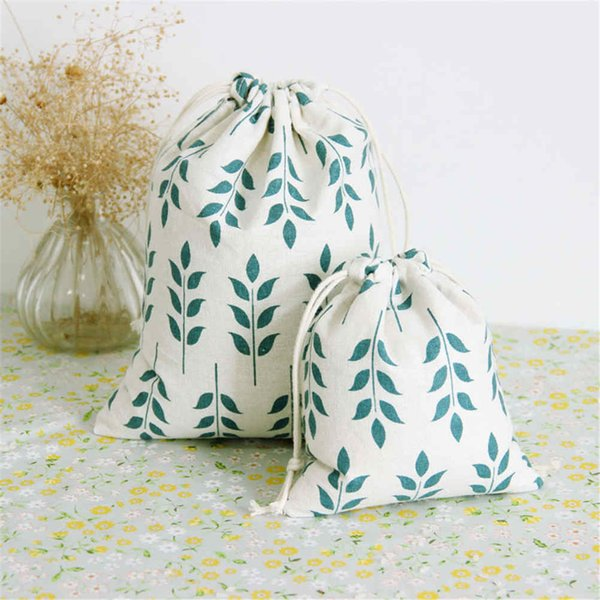 Grain Pattern Print Cotton Linen Fabric Bag Home Sundry Kids Toy Storag Bag Clothes Socks/underwear Shoes Dust Receive Cloth