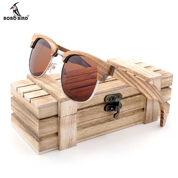 1df11b176 BOBO BIRD Brand Zebra-stripe Design Luxury Sunglasses Women Original Wood  Handmade Sun Glasses Man