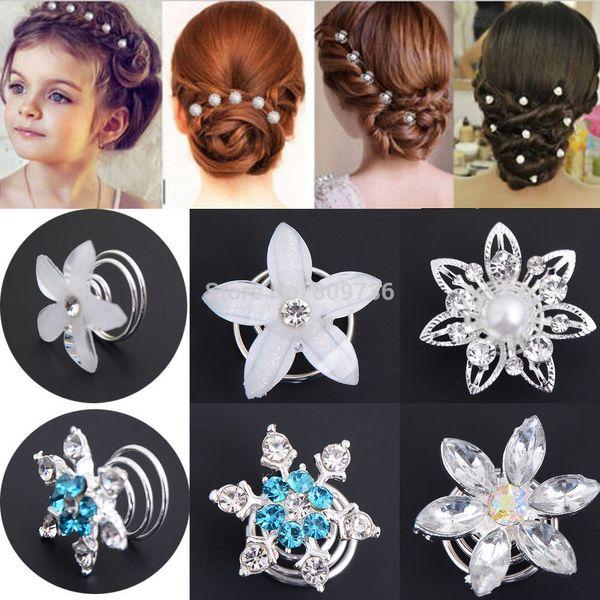 2Pcs Crystal Pearl Wedding Bridal Hair Pins Twists Coils Flower Swirl Spiral Hairpins Fashion Women Jewelry Accessories
