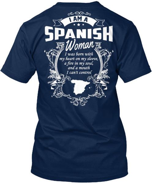 Я испанская женщина родилась с моим сердцем на рукаве футболки Élégant (S-3XL) футболка мужская брендовая одежда с коротким рукавом