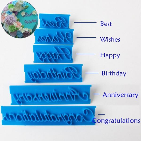 El yazısı harfler Of Çevre dostu Mutlu Doğum Günü En Iyi dileklerimle Tebrikler Yıldönümü fondan kalıpları kek dekorasyon 6 adet / takım