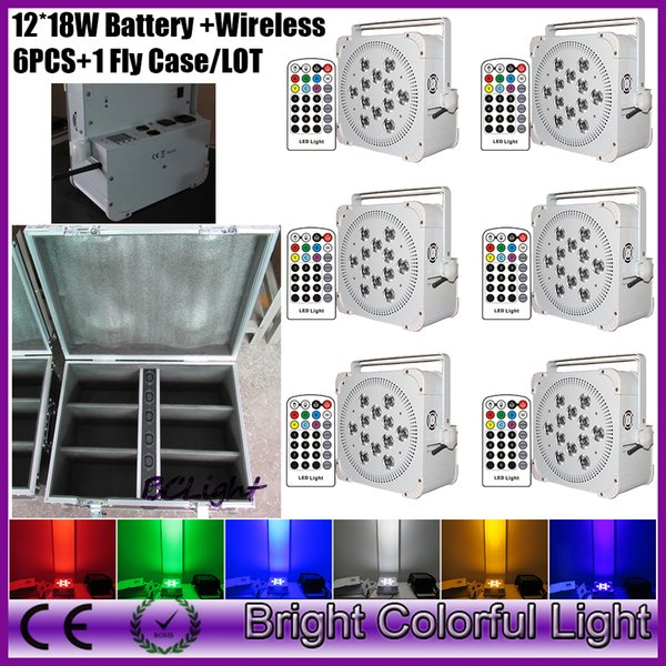 LCD disply RGBWA UV 12*18W battery powered led uplight LED wireless dmx par light with Infrared controller(6pcs+road case)